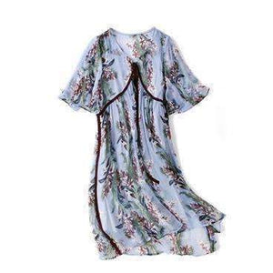 Silk Womens Dress Print Lace-Up V-Neck Half Sleeves Patch-[product_tag]-My MALL Metro