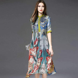 Silk Womens Dress Print Patch O-Neck Button Half Sleeves Long Dress-[product_tag]-My MALL Metro