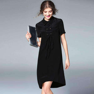 Silk Womens Dress Design Lace-Up Turn-Down Collar Short-Sleeve-[product_tag]-My MALL Metro