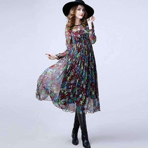 Silk Long Womens Dress Prairie Print O-Neck Long Sleeves Waist-[product_tag]-My MALL Metro