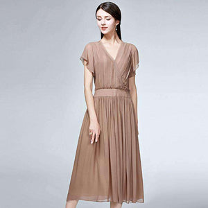 Silk Long Womens Dress Solid V-Neck Short-Sleeve Lightweight Dress-[product_tag]-My MALL Metro