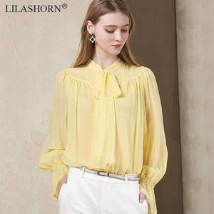 100% Silk Women Blouse New Flare Sleeve Solid Office Lady Shirt High End Work Tops See Chart / M