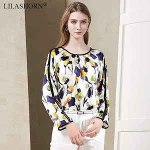 Floral Blouse Long-Sleeve O-Neck-[product_tag]-My MALL Metro