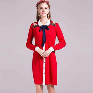 Women Knitted Dress Bees Embroidery Peter-Pan-Collar Knee-Length Dress-[product_tag]-My MALL Metro