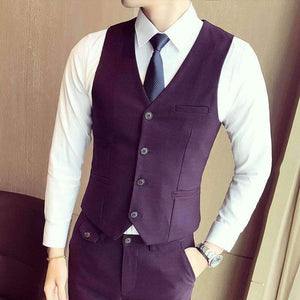 Mens Vest Slim Fit V-Neck Suit-[product_tag]-My MALL Metro