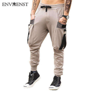 Brand New Fashion Mens Pants Pocket Full Length Men Hiphop Joggers Sweatpants Casual Trousers Belt Streetwear