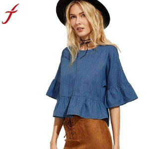Women Blouse Half Sleeve Round-Neck Blouse Shirt Tops-[product_tag]-My MALL Metro