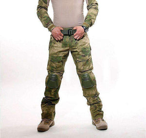 Mens Camouflage Military Pants Tactical Army Camo Cargo Mens Baggy Multi Pockets Trousers With Knee Pads 051310