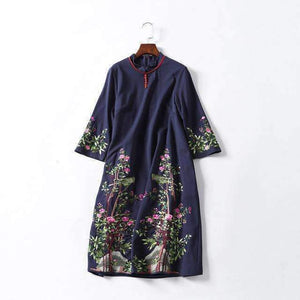 Women Embroidery Dress Three-Quarter Sleeves Stand-Collar Knee-Length Dress-[product_tag]-My MALL Metro