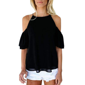 Blouse Chiffon Off-Shoulder Tops-[product_tag]-My MALL Metro