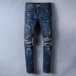 New France Style #501# Mens Distressed Embellished Ribbed Stretch Moto Pants Biker Blue Jeans Slim Trousers Size 28-42