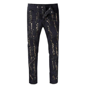 Mens Distressed Embellished Ribbed Stretch Pants-[product_tag]-My MALL Metro
