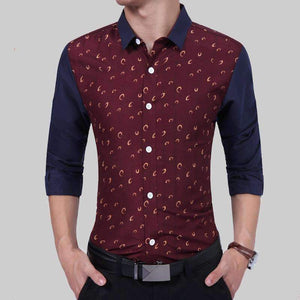 New Mens Business Fashion Print Youth Leisure Long Sleeved Shirt