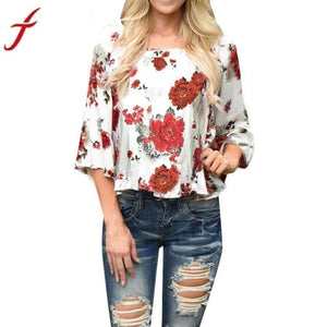 Women Blouse Flower Print Blouses Three-Quarter Sleeve Shirt Flare Sleeve Tops-[product_tag]-My MALL Metro