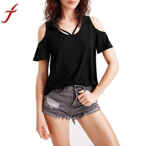 Women Blouse Short Sleeve Off-Shoulder Top O-Neck Shirt-[product_tag]-My MALL Metro