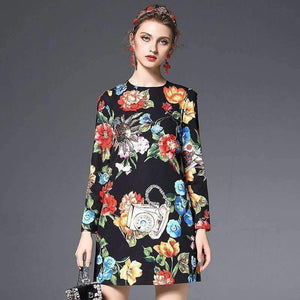 3D Flower Diamond Sequins Floral Print Long-Sleeve Mini Dress-[product_tag]-My MALL Metro