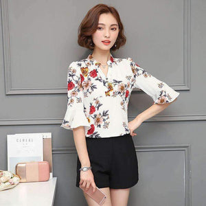 Floral Chiffon Blouse Women Tops-[product_tag]-My MALL Metro