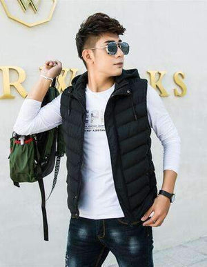 Vest Men Fashion Stand Collar Mens Sleeveless Jackets Casual Slim Fit Cotton Pad Coats Man Winter Waistcoats 3056