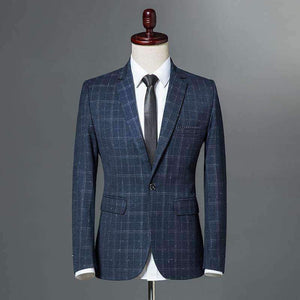 Mens Plaid Blazer Single Button Slim Fit Jacket-[product_tag]-My MALL Metro