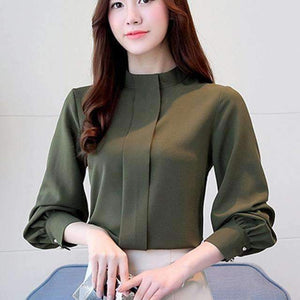 Women Tops Long Sleeve Casual Chiffon Blouse Loose Office Blouses Clothing Solid Shirts Blusa Plus Size Green / S