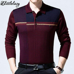 Casual Long Sleeve Business Mens Shirts Male Striped Fashion Brand Polo Shirt Designer Men Tenis Polos Camisa Social 6737