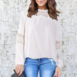 Ladies Crew Neck Long-Sleeve Loose Shirts Solid Hollow-Out Lace Blouse-[product_tag]-My MALL Metro