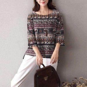Boho Women O-Neck 3/4-Sleeve Ethnic Print Blouse Cotton Linen Loose Tops-[product_tag]-My MALL Metro