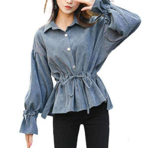 Corduroy Flare Sleeve Women Shirts Solid Color Sleeve Tops-[product_tag]-My MALL Metro