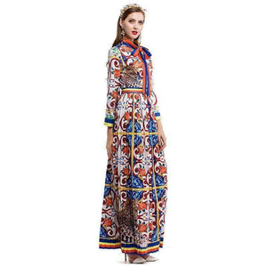 Early Spring Restore Ancient Ways Hand Colour Ceramics Printing Crimp Set Lead Bow Long Sleeve Dress