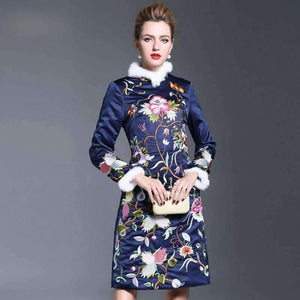 Embroidery Floral Womens Dress Stand-Collar Slim Dresses-[product_tag]-My MALL Metro
