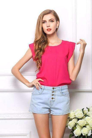 Short Butterfly Sleeve Women Blouses Chiffon Shirt Tops-[product_tag]-My MALL Metro