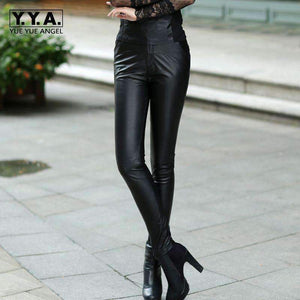 Sheepskin Leather Pants Womens Pencil Pants Thickening Skinny Trousers Black-[product_tag]-My MALL Metro