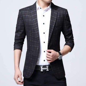 Mens Cotton Maximins Blazers Plaid Pattern Jacket-[product_tag]-My MALL Metro