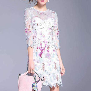 Lace Womens Dress Hollow-Out Embroidery Dress-[product_tag]-My MALL Metro