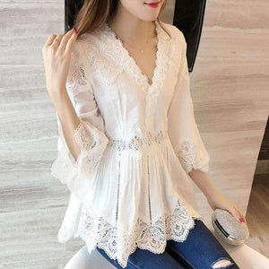Lace Blouse Shirt Women V-Neck 3/4-Sleeve Shirts Shirt-[product_tag]-My MALL Metro