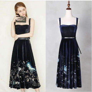 Spaghetti-Straps s Velvet Long Women Dress 3D Solid Print Dress-[product_tag]-My MALL Metro