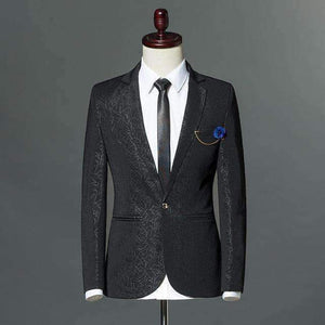 Mens Stripes Print Slim Fit Blazers Mens One-Button Suit-[product_tag]-My MALL Metro
