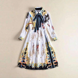 Turn-Down Collar Lace-Up Print Pleated Womens Dress-[product_tag]-My MALL Metro