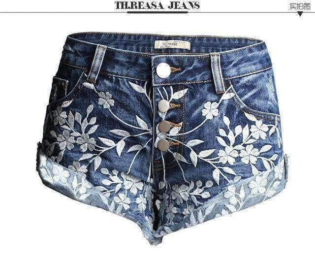 Womens Embroidery Short Jeans-[product_tag]-My MALL Metro