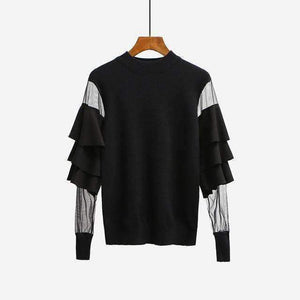 Womens Sweater Pullover Tops Ruffle Mesh-[product_tag]-My MALL Metro