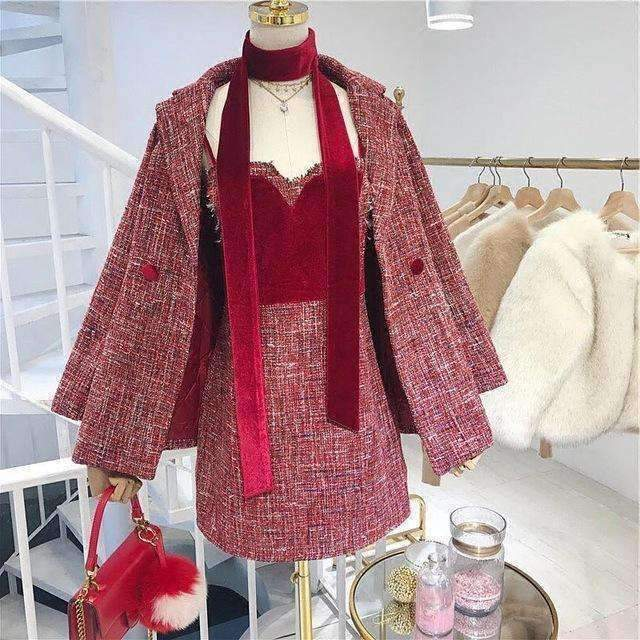 Womens Long Jacket Coat Mini Velvet Patch Tweed Suit-[product_tag]-My MALL Metro
