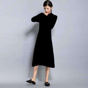 Turtleneck Sweater Women Loose A-Line Dress-[product_tag]-My MALL Metro
