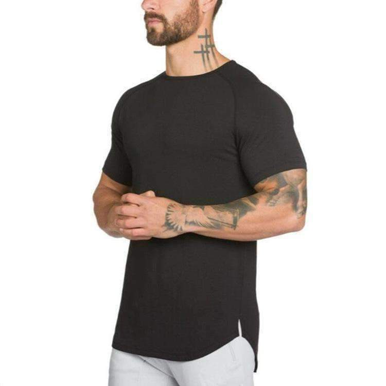 New Brand Clothing Mens Black Short Sleeve T Shirt Hip Hop Extra Long Tops Tee Tshirts For Men Cotton Golds Gyms T-Shirt