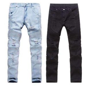 Mens Stretchy Ripped Skinny Biker Destroyed Taped Denim Jeans-[product_tag]-My MALL Metro