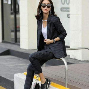 Womens 2 Piece Sets Striped Slit Back Jacket Blazer-[product_tag]-My MALL Metro