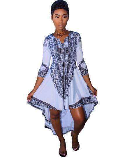 3/4-Sleeve Print Womens Day Dress-[product_tag]-My MALL Metro