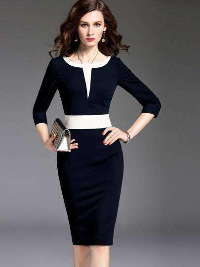 3/4-Sleeve Pencil Color Block Formal Womens Sheath Dress-[product_tag]-My MALL Metro