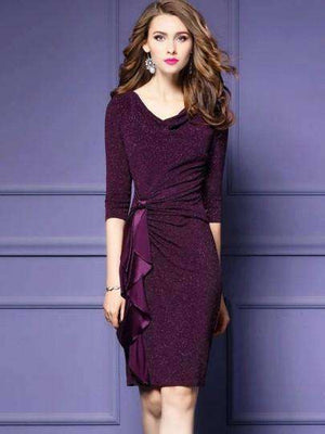 3/4-Sleeve Sequins Womens Sheath Dress-[product_tag]-My MALL Metro