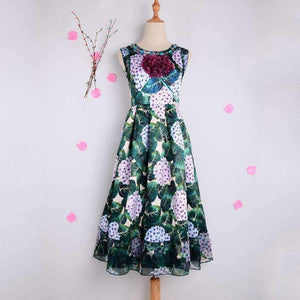 3D Flowers Dress Long-Sleeve Womens Floral Print Pleated Dress-[product_tag]-My MALL Metro