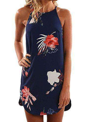 Womens High-Neck Flower Print Sleeveless Mini Dress-[product_tag]-My MALL Metro